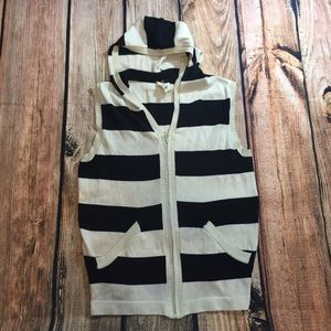 {UO Character Hero} striped sweater vest w/ a hood
